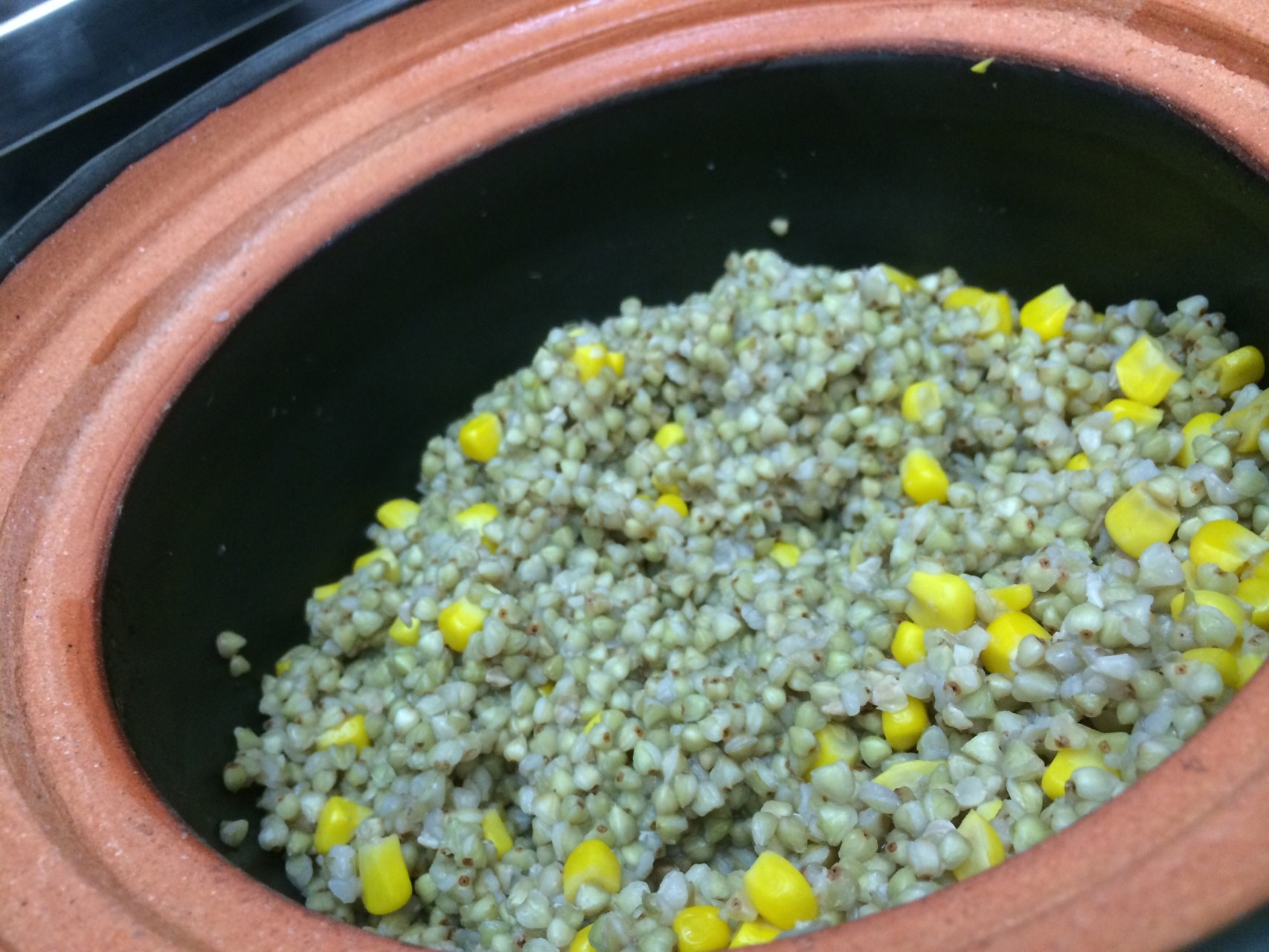 蕎麦の実とコーンの炊き合わせ
