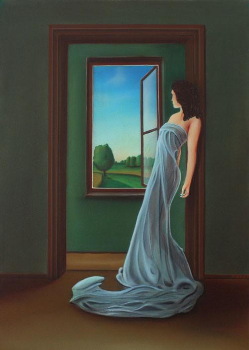 #Klassische_ Malerei#Lasurmalerei#Die_Frau_am_Fenster#Blick_nach_draußen#Toscana#Italien#Kleid#Frau#Thomas#Klee
