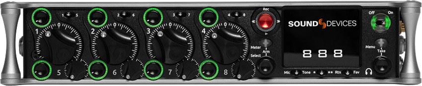 Sound Devices 888 Mehrspur Recorder und Mixer + 8 Mikrofoneingänge mit analogem Limiter parametrischem EQ + gleichzeitige Aufnahme auf SSD und 2x SD-Karte