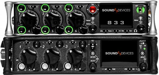 Sound Devices 833 bei TON Eichinge: Ultra-kompakter Recorder Mixer, SSD, 6 Mikrofoneingänge mit 48V Phantomspeisung, symmetrischer Line-Ausgang