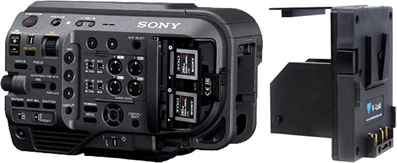 Hawk-Woods V-Mount Adapter Plate Akkuplatte 2x D-Tap Anschluss für Sony PXW-FX9 Hot-Swap infinite runtimes