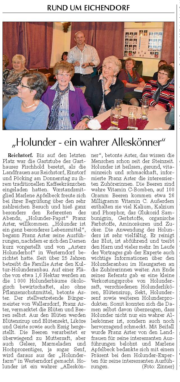 Vortrag bei den Landfrauen in Reichstorf im Nov. 2013