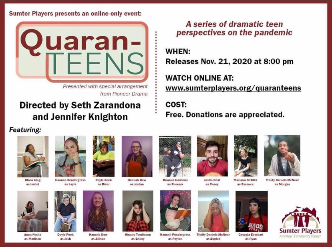 Sumter Players Online-Only Event: Quaran-Teens