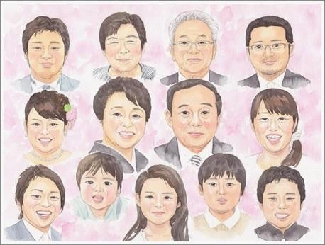 大人数の似顔絵作品例11