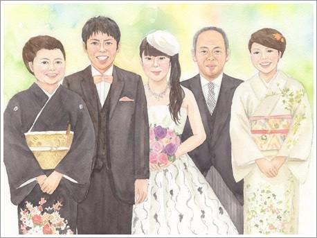 大人数の似顔絵作品例5-結婚式