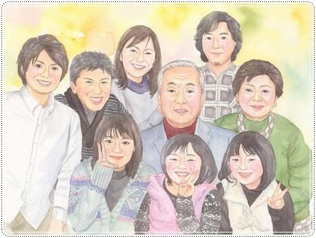 大人数の似顔絵作品例6-還暦