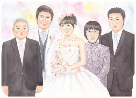 大人数の似顔絵作品例1-結婚式