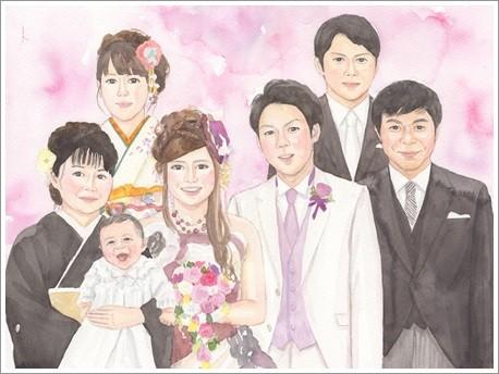 大人数の似顔絵作品例2-結婚式