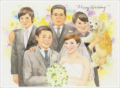 結婚式の贈呈品・似顔絵プレゼントなら、優しい手描き水彩画がお勧めです!