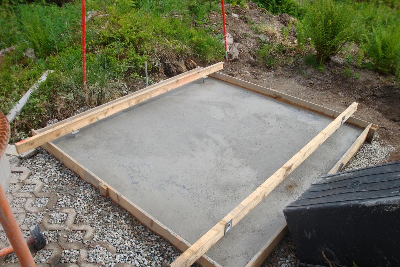 Fundament ist fertig gleich mit Balkenschuh für die spätere Dachkonstruktion.