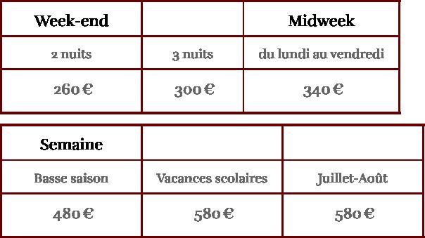 Tarifs - Gîte du Manoir de Chaussoy