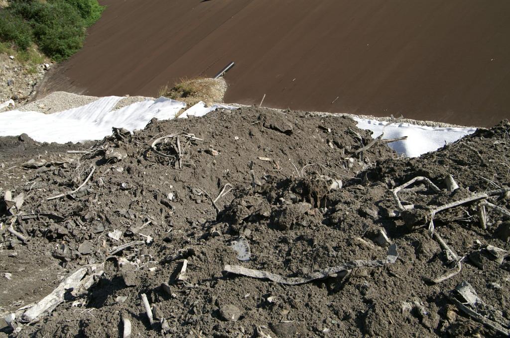 I residui alle volte assai nauseabondi dell'inceneritore di Giubiasco, lasciati in discarica così come depositati dai camion durante il fine settimana.