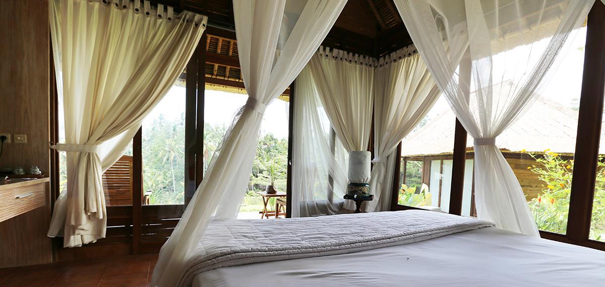 Maison d'hôtes à Bali, chambres en matériau bois