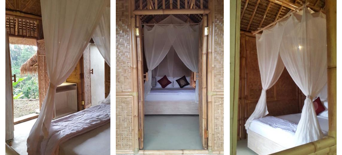 chambre de la maison cocon en bambou