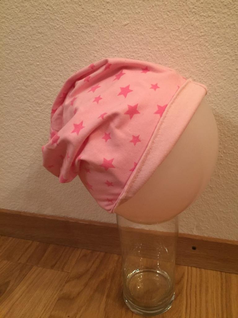 Beanie Mütze No.4, Gr. 47  gefüttert mit rosa Jersey