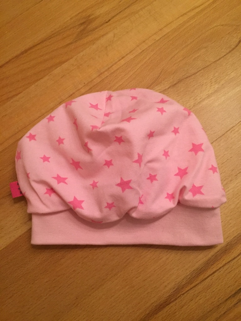 Beanie Mütze No.6, Gr. 46  gefüttert mit rosa Jersey