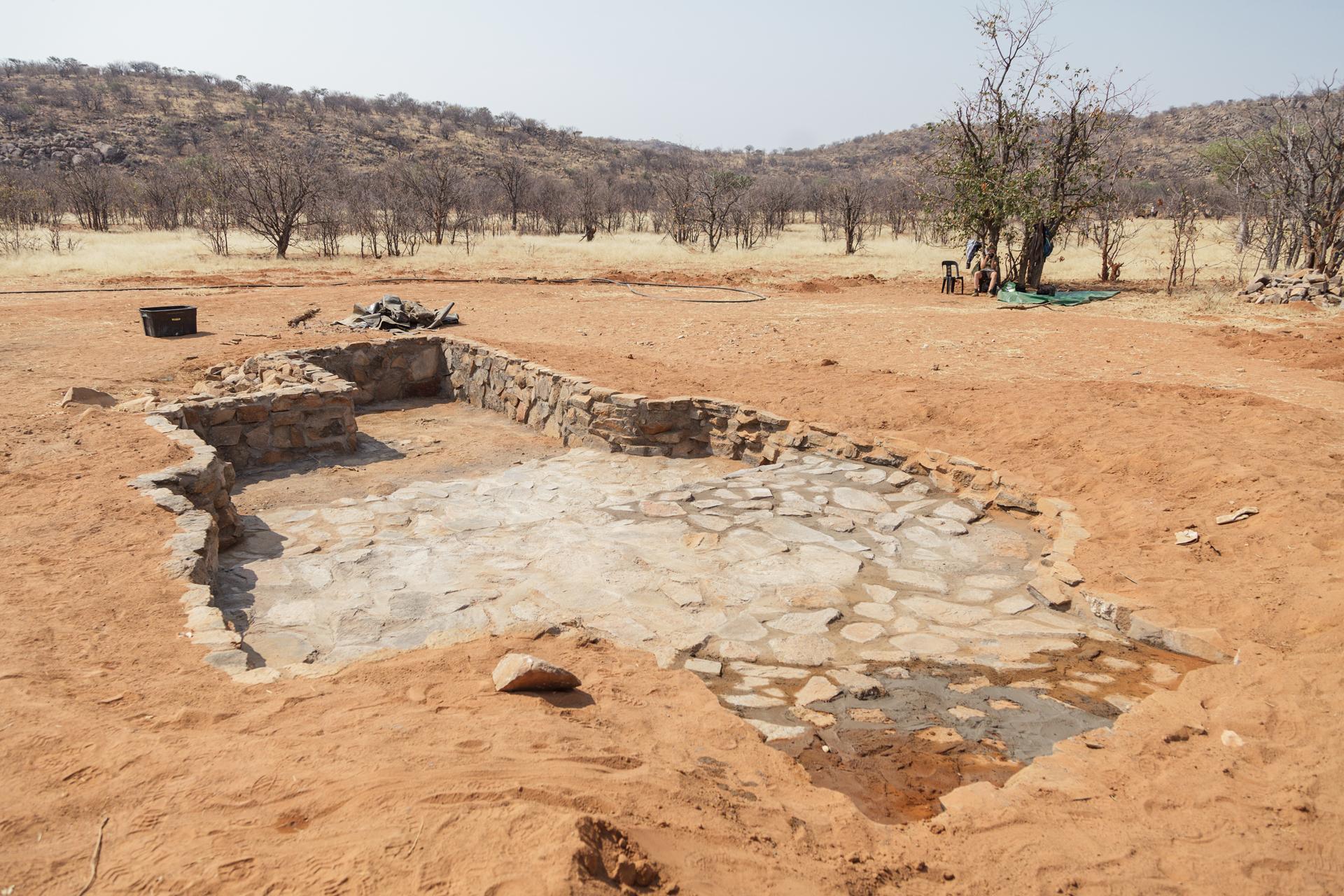 Sanierung der Wildtier-Wasserstelle im Kunenegebiet in Namibia 2017, ©Foto: Eva Bauer