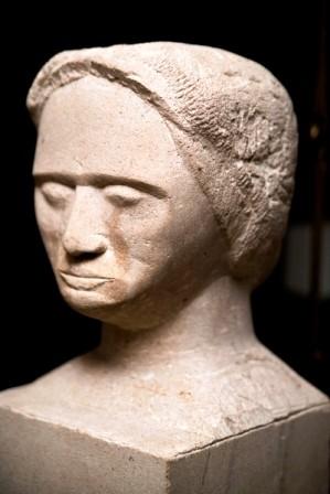Kopf, Muschelkalk, 1998, 31 cm hoch.