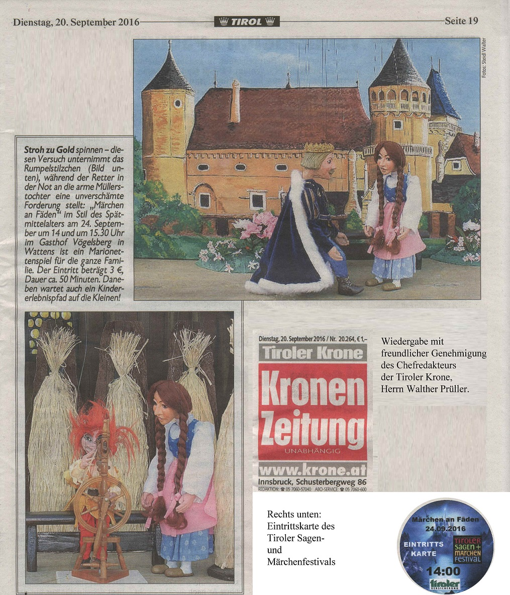 Großformatige Ankündigung in der Tiroler Krone vom 20.09.2016 - Wiedergabe mit freundlicher Genehmigung von Herrn Chefredakteur Walther Prüller.