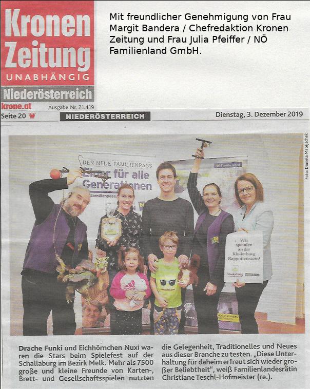 Kronen Zeitung NÖ vom 3.12.2019, S. 20