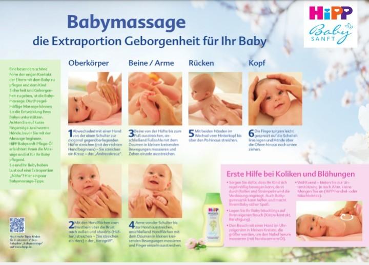 Auf der Seite von Hipp findet ihr tolle Anleitungen zur Babymassage für zu Hause