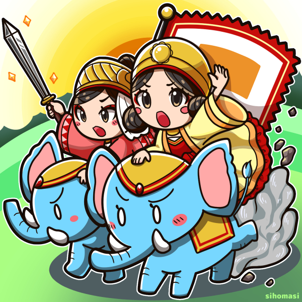 illust Hai Ba Trung Hai Bà Trưng  ハイバーチュン trung sisters by sihomasi