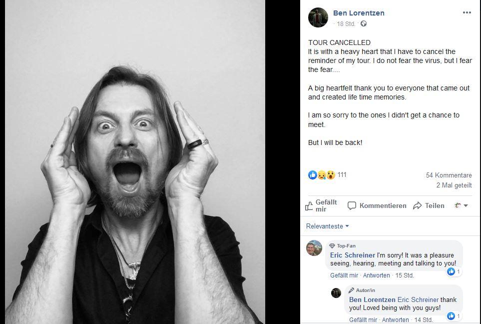 Ben Lorentzen sagt Tour ab, Absagen und neue Künstler*Innen