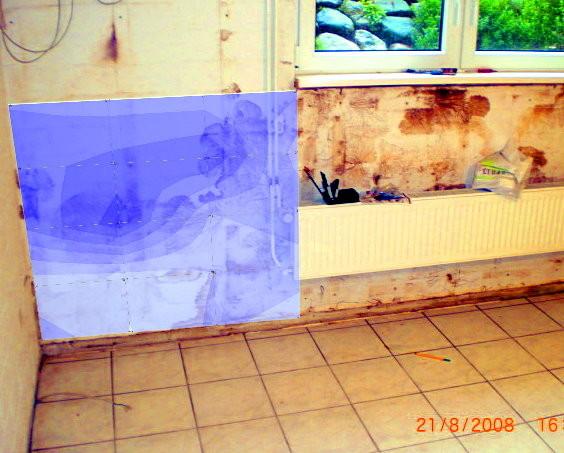 Feuchteverteilung im Bauteil ( Seitlich eindringende Feuchtigkeit)