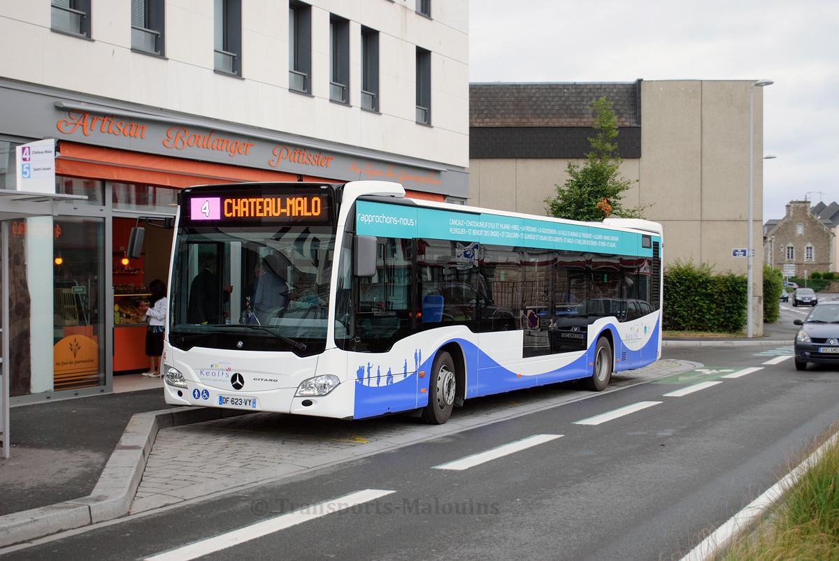 Mercedes Citaro C2 n°84, arrêt Gares le jour de l'inauguration du nouveau réseau.