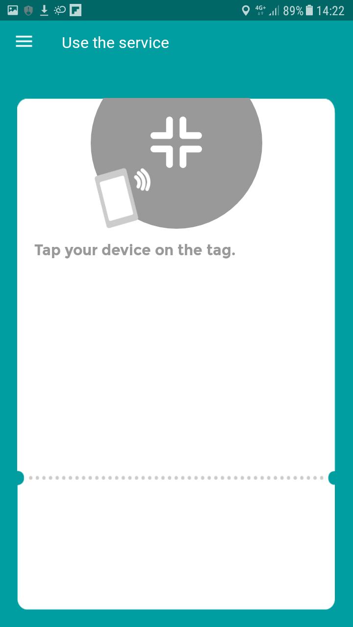 Écran d'accueil de l'application Seamless, invitant les usagers à passer leur smartphone devant l'une des cibles NFC installées dans les bus.