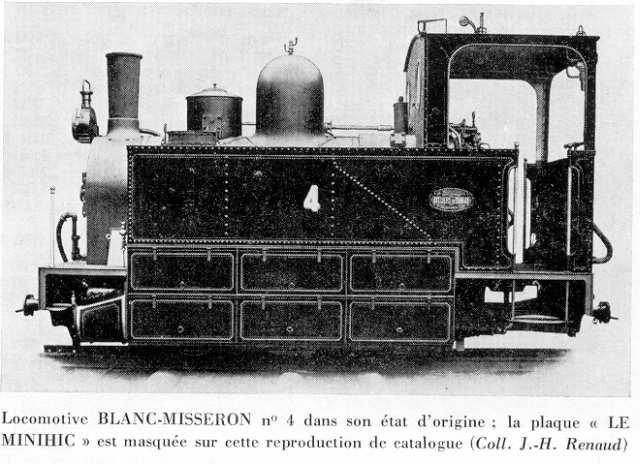 La locomotive n°4, neuve, apparaît ici dans le catalogue Blanc-Misseron. Les plaques Le Minihic sont ici masquées.
