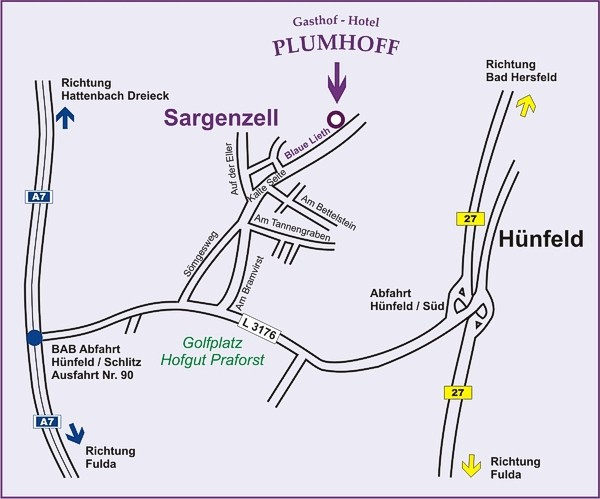 Anreise Weg zum Gasthof Hotel Plumhoff nur 5 km ab A7 Ausfahrt Nr. 90