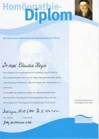 Homöopathie Diplom des DZVhÄ, deutscher Zentralverein homöopathischer Ärzte