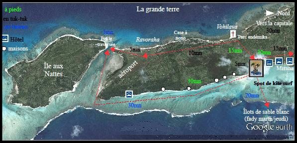 Google Earth: se déplacer à Sainte-Marie de Madagascar, le sud de Nosy Boraha, l'aéroport, l'île aux Nattes