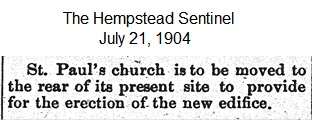 Hempstead Sentinel - Old church moved - July 21, 1904