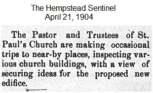 Hempstead Sentinel - New ideas for the edifice- April 21,. 1, 1904