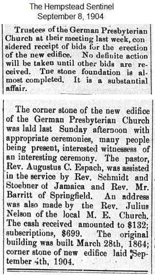 Hempstead Sentinel - Corner stone laid last weekend - Sept. 8, 1904