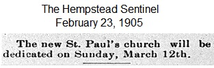 Hempstead Sentinel- Church dedication - Feb. 23, 1905