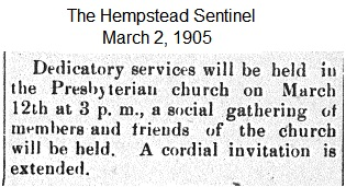 Hempstead Sentinel - Dedication of new church - March 2, 1905