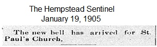 Hempstead Sentinel - Church bell arrival - Jan. 19, 1905