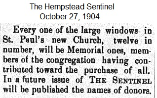 Hempstead Sentinel  - Memorial windows - Oct.  27, 1904