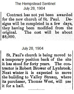 Hempstead Sentinel - Contracts not yet awarded - Church being moved - July 28, 1904