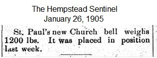 Hempstead Sentinel  - Bell weighs 1200 lbs. - Jan. 26, 1905