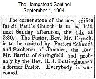 Hempstead Sentinel - Corner stone - Sept. 1, 1904