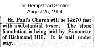 Hempstead Sentinel - Church tower 70 feet - August 25, 1904