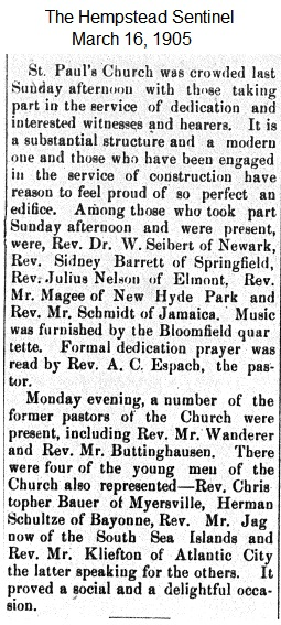 Hempstead Sentinel - Dedication well attended - March 16, 1905