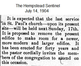 Hempstead Sentinel - Last service in old church - July 14, 1904
