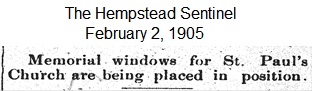 Hempstead Sentinel - Memorial windows - Feb. 2, 1905