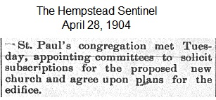 Hempstead Sentinel  - Committee Appointed for subscriptions of new church  - April 28, 1904