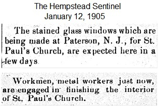 Hempstead Sentinel  - Stained glass windows - Jan.  12, 1905